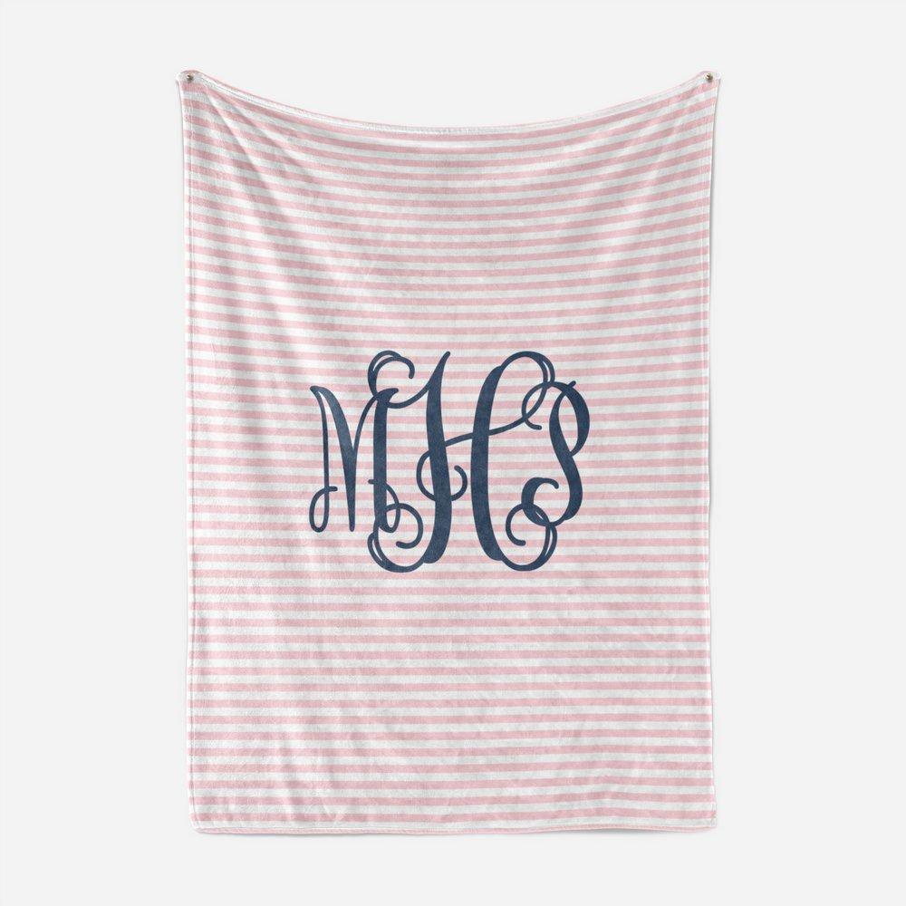 Pink and Navy Monogram Blanket | Baby Blankets | The Graceful Goose