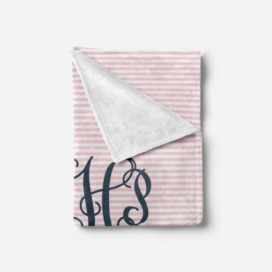 Pink and Navy Monogram Baby Blanket | Baby Blankets | The Graceful Goose