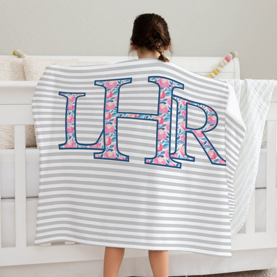 Pink and Navy Monogram Blanket Baby Blankets TheGracefulGoose