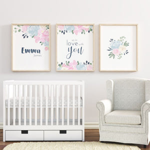 Pink and Navy Nursery Print Set #1