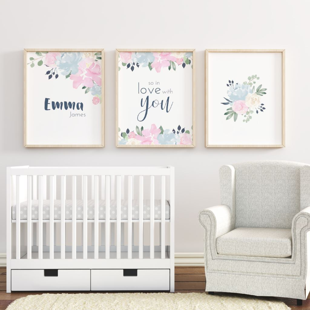 Pink and Navy #1 // Set of 3 Prints | Nursery Prints | The Graceful Goose