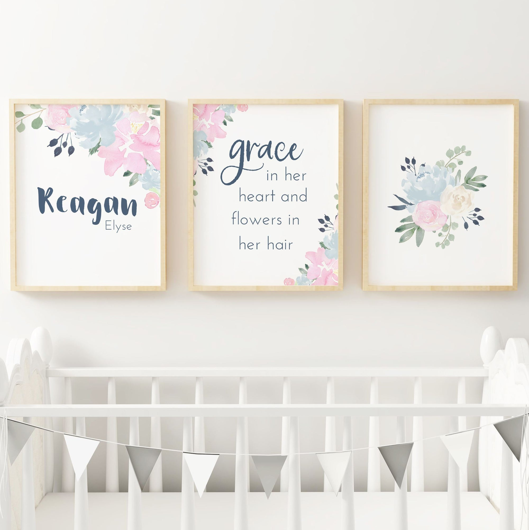 Pink and Navy #2 // Set of 3 Prints Nursery Prints TheGracefulGoose