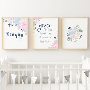 Pink and Navy #2 // Set of 3 Prints