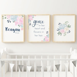 Pink and Navy Nursery Print Set #2