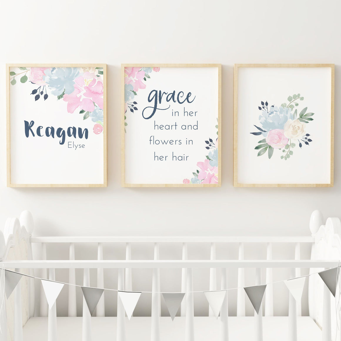 Pink and Navy #2 // Set of 3 Prints | Nursery Prints | The Graceful Goose