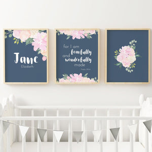 Pink and Navy Nursery Print Set #3