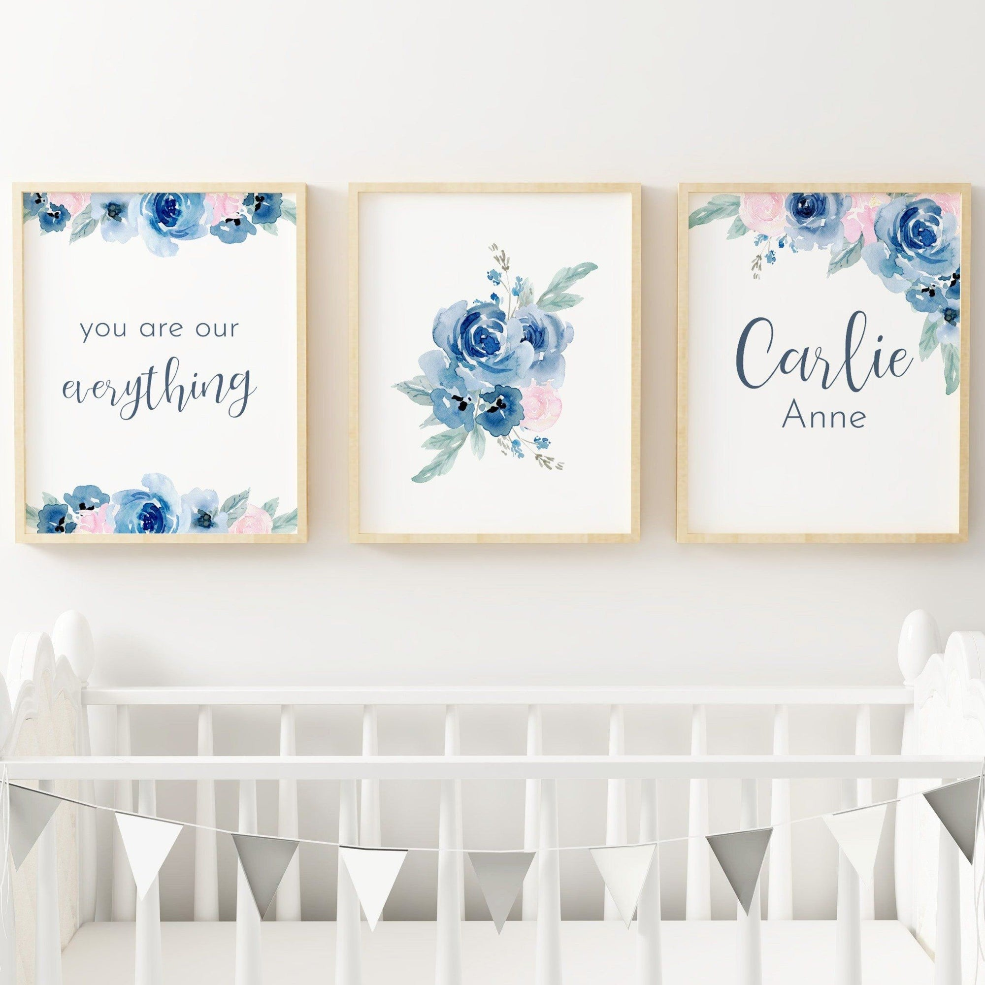 Pink and Navy #3 // Set of 3 Prints