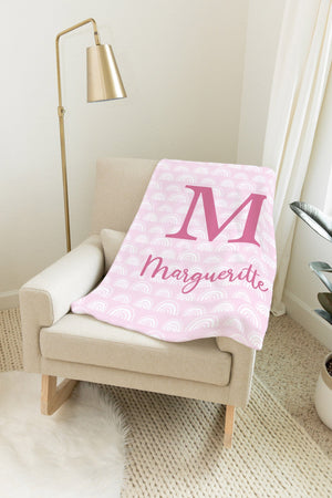 Pink Rainbow Print Blanket | Baby Blankets | The Graceful Goose