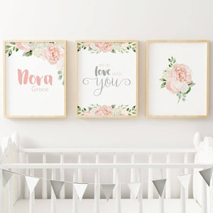 PRINTABLE ART - Dark Blush and Grey Name Set #2 | Nursery Prints | The Graceful Goose