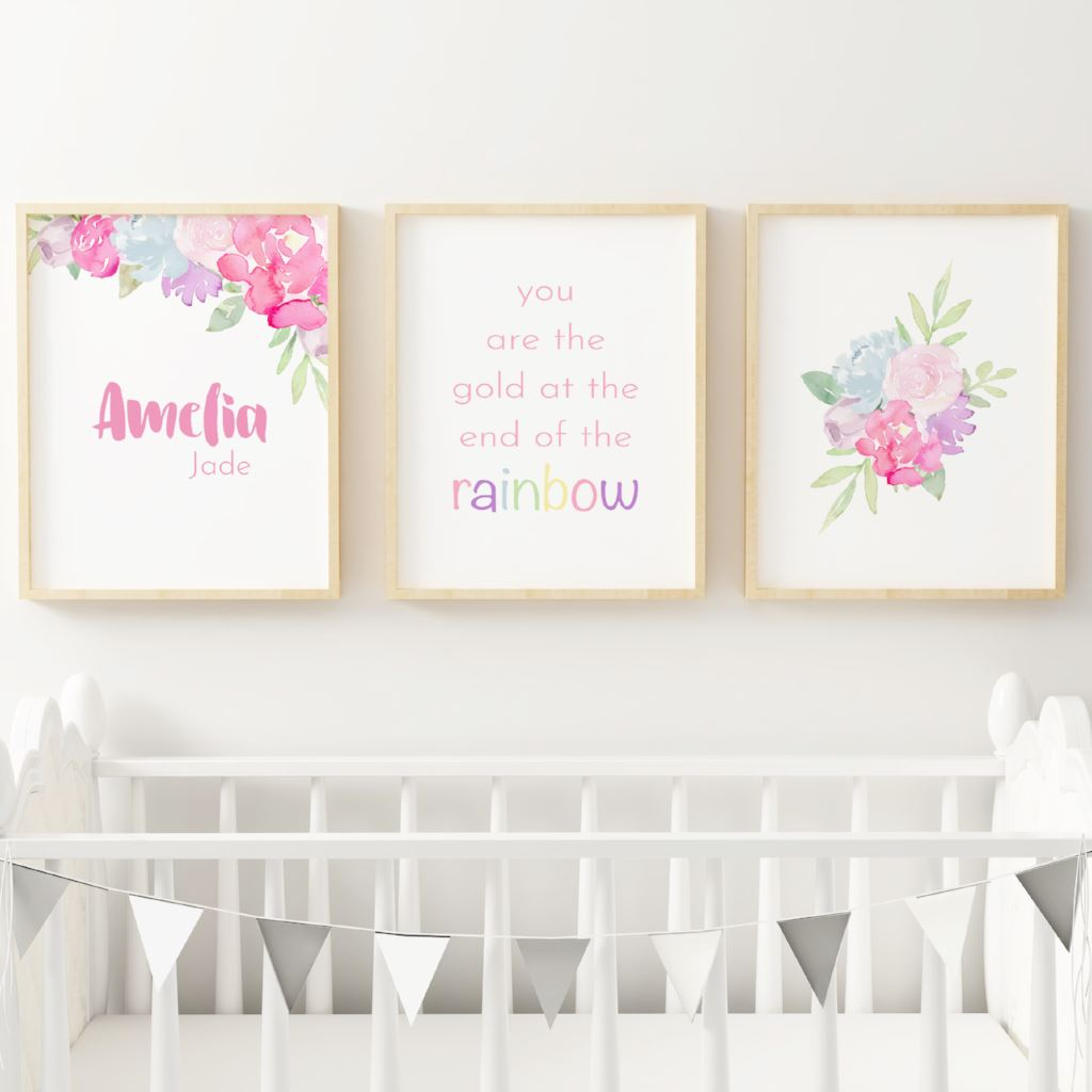 Rainbow #1 // Set of 3 Prints Nursery Prints The Graceful Goose
