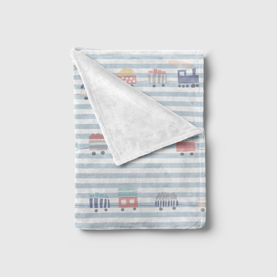 Trains Print Striped Baby Blanket | Baby Blankets | The Graceful Goose