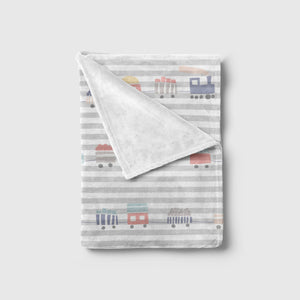 Trains Print Striped Blanket | Baby Blankets | The Graceful Goose