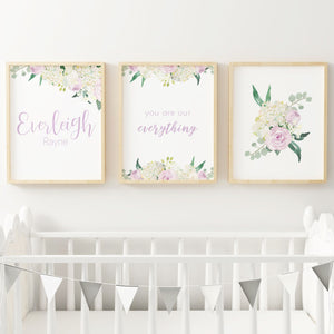 White and Lavender // Set of 3 Prints | Nursery Prints | The Graceful Goose