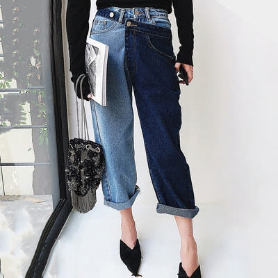 """GWEN"" High Waist Spliced Two Tone Jeans"