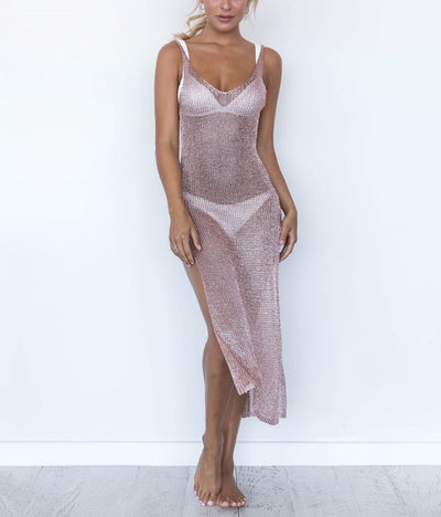 """TONI"" Rose Beach Cover-Up Dress"