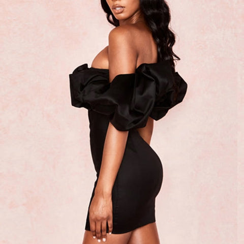 """ADINA"" Black Off Shoulder Dress"