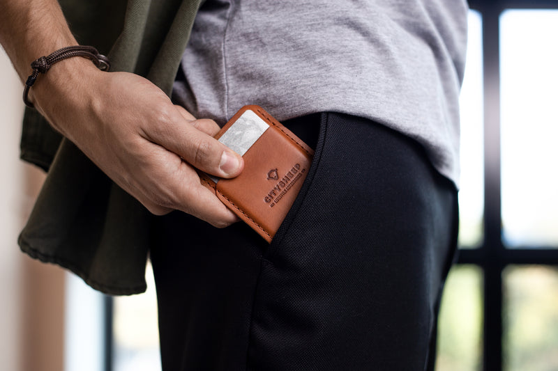 Slim leather wallet-card holder/ Vegetable tanned