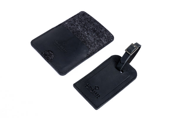 Slim leather passport case/ CLASSY BLACK