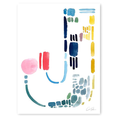 Color Letter J Print by Artist Caitlin Shirock
