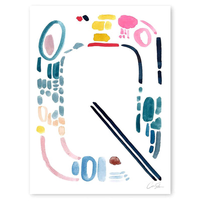 Color Letter Q Print by Artist Caitlin Shirock