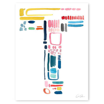 Color Letter T Print by Artist Caitlin Shirock