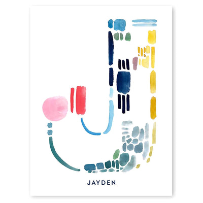 Color Letter J Print - Personalized