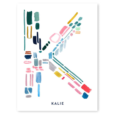 Color Letter K Print - Personalized