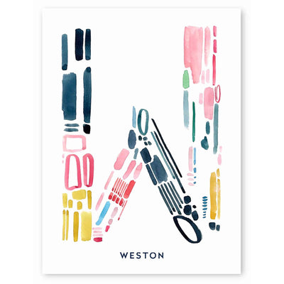 Color Letter W Print by Artist Caitlin Shirock