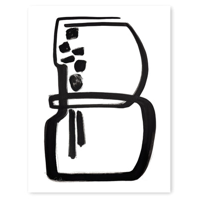 Black and White Letter B Print by Artist Caitlin Shirock Product Photo