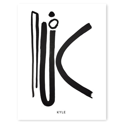 Cash Color Black and White Letter K Print Personalized