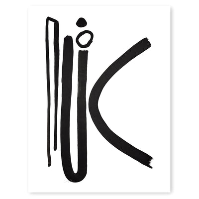 Black and White Letter K Print by Artist Caitlin Shirock Product Photo