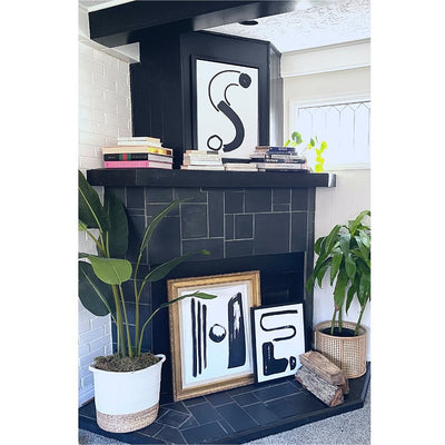 Cash Color Black and White Letter S Print