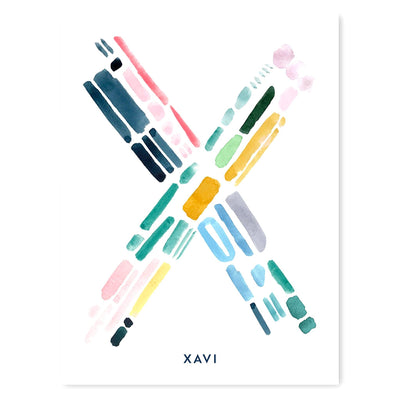 Color Letter X Print - Personalized