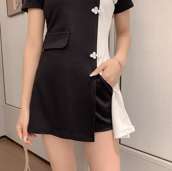 Black and White Patchwork Korean Dress - Tokyo Dreams