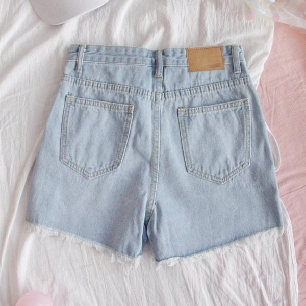 Embroidered Hearts High Waist Jean Shorts - Tokyo Dreams