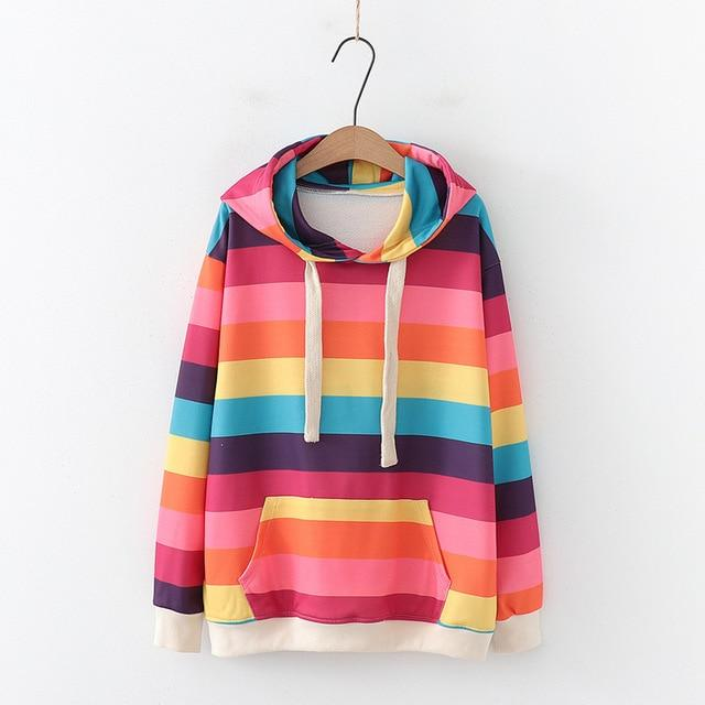 Candy Cane Rainbow Striped Hoodie - Tokyo Dreams