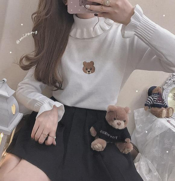 Little Brown Bear Kawaii Turtleneck - Tokyo Dreams