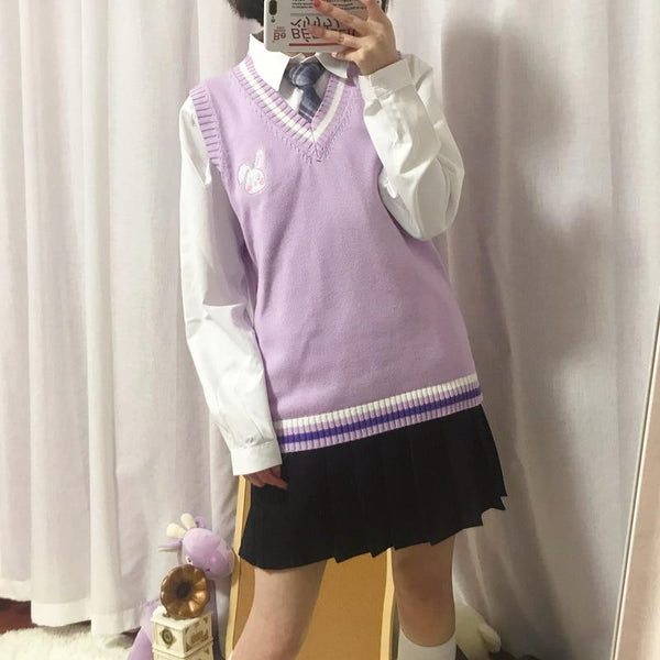 Little Animal Schoolgirl Sweater Vest (Pink, Blue, Purple) - Tokyo Dreams