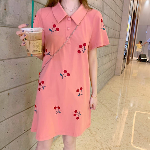 Cute Cherry Collared Kawaii Dress - Tokyo Dreams