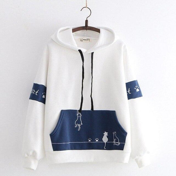 Hanging Kitties Embroidered Cartoon Hoodie - Tokyo Dreams