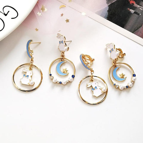 Bunny Moon Kawaii Earrings (Pink, Blue) - Tokyo Dreams