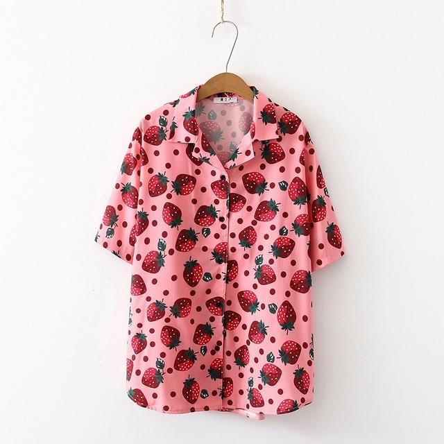 Fruity Strawberry Print Kawaii Blouse - Tokyo Dreams