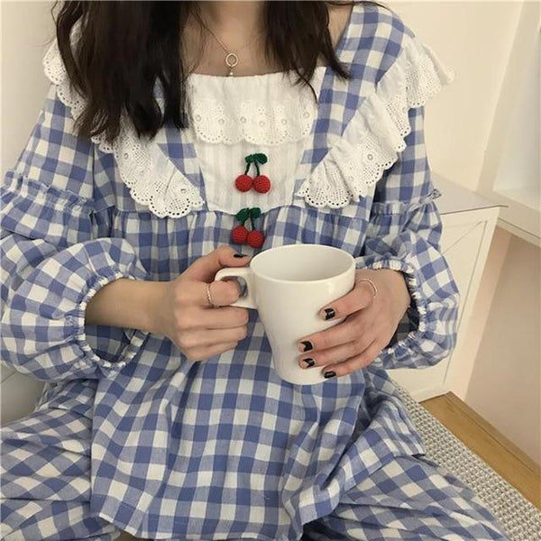 Kawaii Cherry Plaid Pajamas (Blue, Red) - Tokyo Dreams
