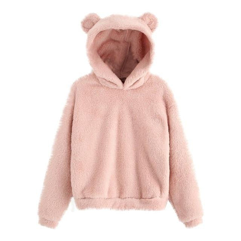 Fluffy Bear Soft Fleece Hoodie (Pink, Black, Grey) Hoodie Tokyo Dreams Pink S Outside US