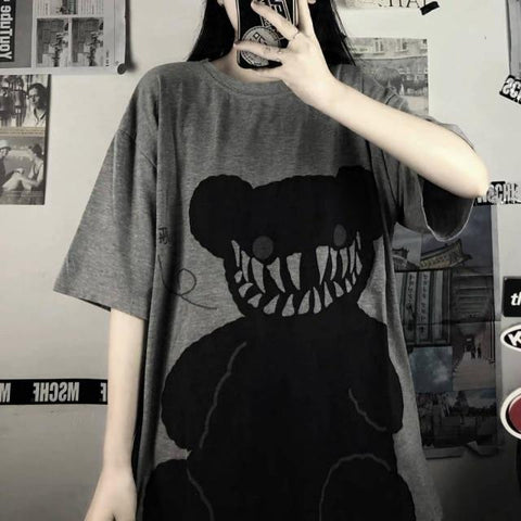Evil Bear Harajuku Cartoon Tee (Grey, White) T-Shirt Tokyo Dreams Grey S