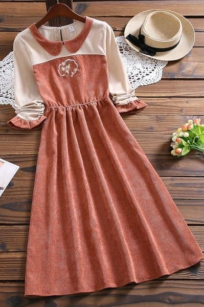 Mori Bouquet Corduroy Dress (Beige, Red) - Tokyo Dreams