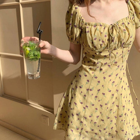 Little Cherry Korean Yellow Sundress - Tokyo Dreams