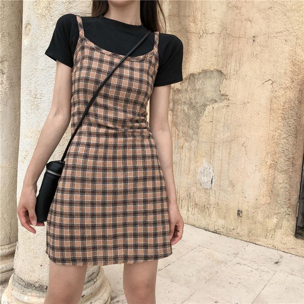 Retro Plaid French Summer Dress - Tokyo Dreams