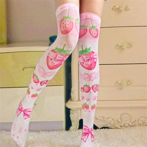 Strawberry Bow Thigh High Stockings - Tokyo Dreams