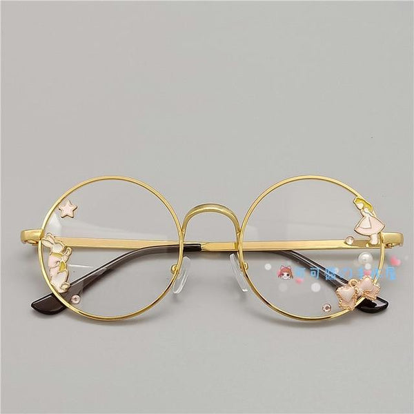 Kawaii Girl Japanese Style Glasses (20 styles) Glasses Tokyo Dreams Gold 3